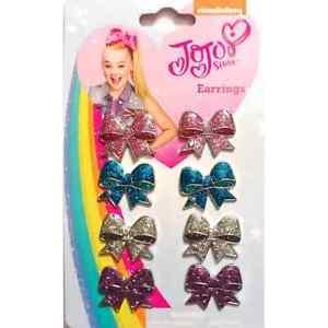 JOJO SIWA BOW EARRINGS - GIFT FOR GIRLS FASHION NICKELODEON - NEW 8 PIECES
