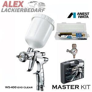 IWATA MasterSet Lackierpistole WS400 1,3mm Düse Druckregler+ Reinigungs-Set