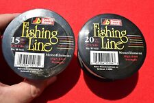 Lot of 2 South Bend Monofilament High Knot Strength Fishing Line 20 lb & 15 lb