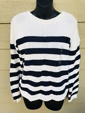 H&M Trend LOGG Women's Pullover Knit Sweater Top Size XS White/Navy Long Sleeve