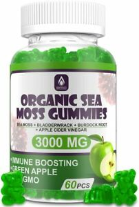 Organic Sea Moss Gummies 3000mg Green Apple Flavor - 60 Pieces