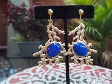 Gorgeous Goldtone Mod Shape with Blue Oval Bead Dangling Clip On Earrings