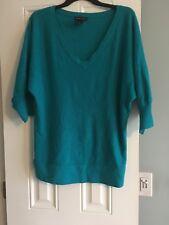 Women Cardigan 3 Qtr Length Sleeve Solid Green Knit Sweater Cardigan (M)