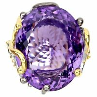 Handmade Oval Purple Amethyst 37.64ct Sapphire 925 Sterling Silver Ring Size 8