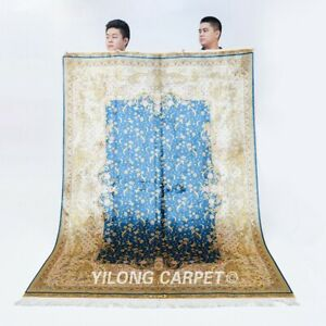 5x7ft Blue antique Silk Area Rug Flooring Hand Knotted Carpet Handmade 591A
