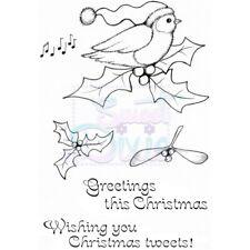 Conjunto de sello de Navidad tweets claro:: Navidad Robin y sentimientos sellos