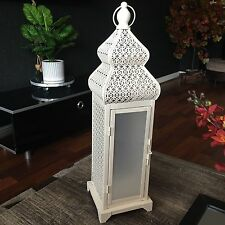 47CM LARGE VINTAGE CREAM MOROCCAN LANTERN LAMP HANGING LED LANTERN TABLE LAMP