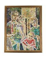 Marjorie Weiblen Florida Vintage Mid Century Modern Figures Cubism Oil Painting