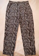 ASOS Black White Striped Casual PANTS Size 14 BNWT NEW Pockets Elastic Waist