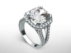 14K WHITE GOLD DIAMOND RING HALO APPRAISED 5 CARATS SI2 D ENGAGEMENT WOMEN