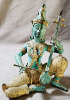 Antique Thai Musician Buddha Figurine Brass Bronze Gilt Metal Statue