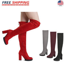 Womens Over The Knee Chunky High Heel Thigh High Party Cocktail Boots Shoe Size