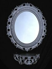 Wall Mirror Oval with Console High Gloss Silver Tray/Shelf Rack 56x46 Baroque