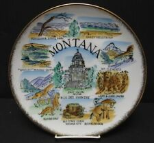 Vintage Big Sky Country Montana Souvenir Plate Bucking Bronco Mt Clements More