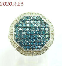 Signed SJ Sterling Silver 925 Octagon Pave Set Blue & White Diamond Ring Size 6