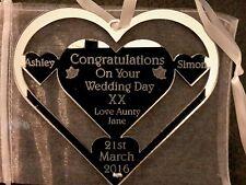 Just married Wedding Day heart Horse Shoe Personalised. gift. Keepsake gift