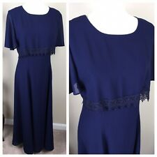 Dress Prom Ball Wedding Evening Cocktail Sz 16 Navy Blue Bridal by Lori Ann EUC