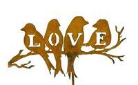 Metal Garden Stake, Birds On Branch, Love Birds, Word Art, Garden Bird Art