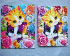 LISA FRANK Lot/2 Glitter Wide Rule Spiral Notebook Folder Playtime Kittens NEW