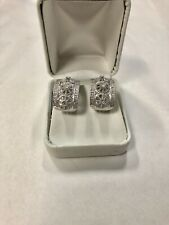 Heavy 18k White Gold Diamond Spoke Design Huggie Hoop Earrings
