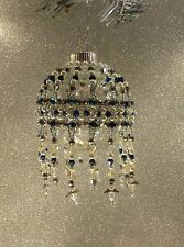 Blue,Silv-Handmade Beaded Christmas Ornament-Changeable Cover/ Angel accents