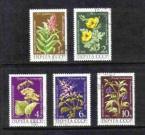 Russia 1972 Medicinal Plants/ Flowers complete set of 5v. (SG 4039-4043) used