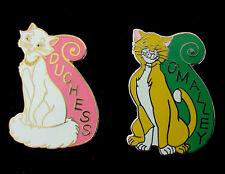 Disney Aristocats Duchess Pink Gold & O'Malley Silver Green Banner Pins