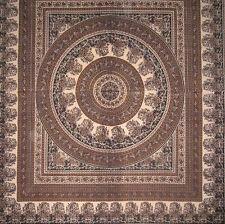 Handmade Cotton Paisley Mandala Tapestry Tablecloth Coverlet Spread 87x90 Full