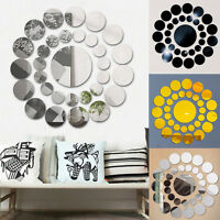 31X Round Mirror Wall Sticker 3D Decal DIY Home Room Art Mural Decor Removable