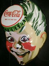 COCA COLA DRINKS ADVERTISING PORCELAIN ENAMEL SIGN HEAD CUT OUT SHAPE 12.5 X 9