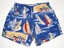 "New listing REYN SPOONER Hawaiian Swim Suit Trunks NAUTICAL Boats 4"" Shorts USA Vtg NEW : Md"