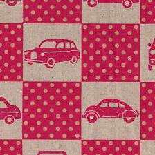 VINTAGE Magenta CAR BLOCKS Echino Nico Spring 2011 KOKKA Fabric FQ Linen/Cotton