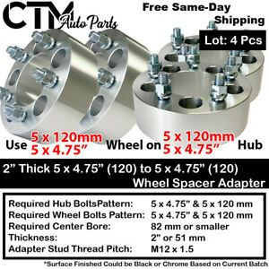 """4PCS 2"""" THICK 5x4.75(5x120) TO 5x4.75(5x120) WHEEL ADAPTER FIT CHEVY GMC MORE"""
