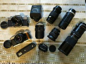 Lot of Minolta cameras and lenses