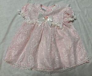 "Vintage ""I'm Wearing Kloz"" Lace Pink Dress Girls Infant sz 24 months"