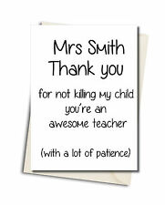 Personalised Rude Funny Teachers Card