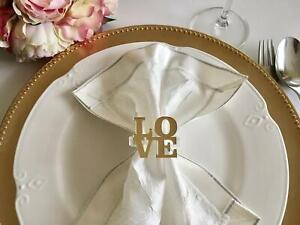 Table Set 4, 6, 8, 10, 12, Love Signs Napkin Ring Holders Custom Wedding Decor