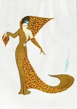 Authentic Limited Edition Vintage Erte Art Deco Print Panther Costume 1980