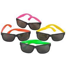 80's Style Wayfare Neon Party Sunglasses Green Orange Yellow Pink Fun (24 Pack)