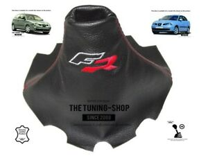 """For Seat Ibiza 2002-2008 Gear Stick Gaiter Leather """"FR"""" Red Embroidery"""