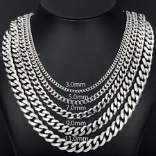 """3/5/7/9/11mm Mens Chain Stainless Steel Silver Tone Curb Link Necklace 18""""-36''"""