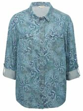 Ladies Casual Womens Button Up Long Sleeve Blue Denim Floral Tencel Shirt