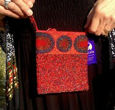Bali Glass Beaded Crossbody Red Zipper Bag 5 1/2 X 6 1/2