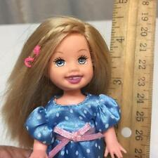 Barbie Kelly Club Friends Doll Missing Tooth w/ Blue Polka Dot Stain Dress Nice!