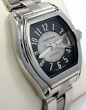 Cartier Roadster 2510 Large Size Steel Black & Silver Dial Automatic Watch *MINT