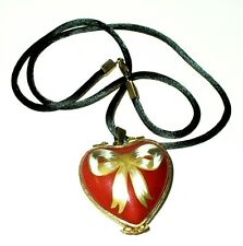 "Limoges Box - Red Heart & Bow & Cord - ""Love"" - Pendant - Locket - Necklace"