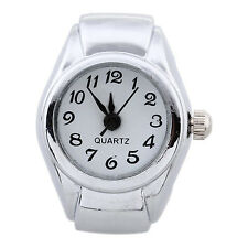 Unisex Quartz Alloy Round White Dial Arabic Numerals Ring Watch Silver LW