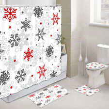 Red and Gray Snowflakes Shower Curtain Toilet Cover Rug Mat Contour Rug Set