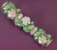 """Vintage Solid Silver and Enamel Floral Design Bracelet 7 1/4"""""""