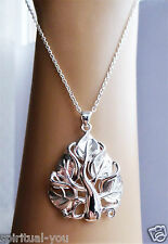 """Silver Metal 18"""" Tree of Life Spiritual Pendant Necklace Stamped 925 + Gift Bag"""